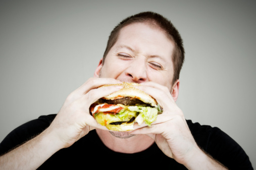 Man eating a burger