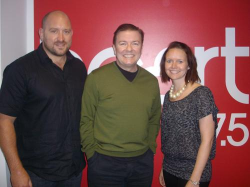 Ricky Gervais with Jules and Bunker