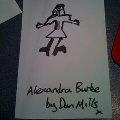 A drawing of Alexandra Burke by Dan Mills.