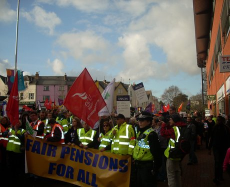 Hundreds marched through the town