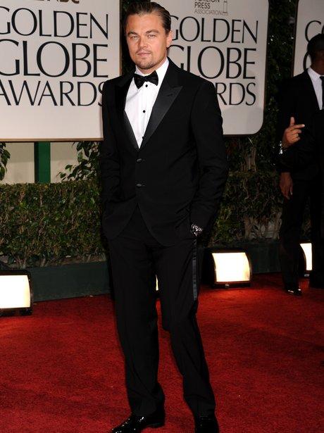 Leonardo DiCaprio at the Golden Globes in a tuxedo