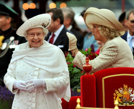 Queen Elizabeth II and Duchess of Cornwall laugh