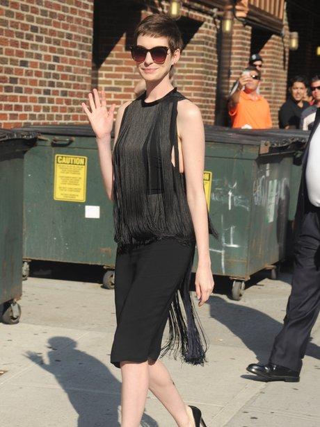 Anne Hathaway tassel dress