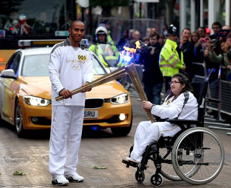 lewis hamilton olympic torch relay
