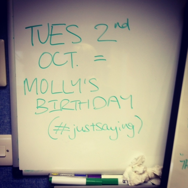 Birthday memo from Molly