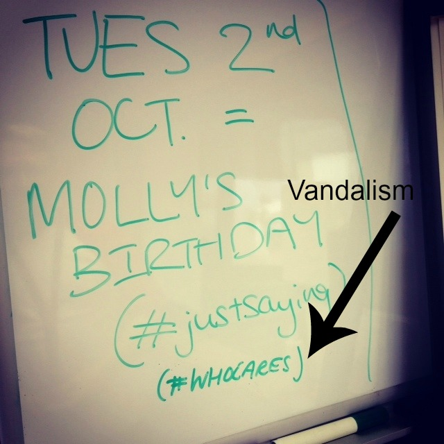 Vandalised birthday memo
