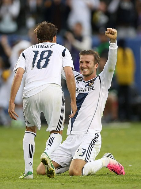 b59a110fea David Beckham celebrates. David Beckham celebrates as LA Galaxy ...