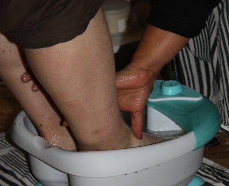 Gareth's soaking his feet!