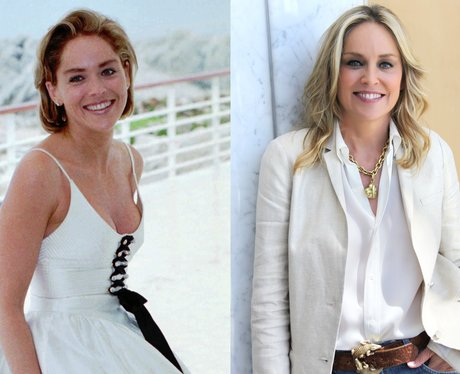 A young Sharon Stone and Sharon Stone age 54