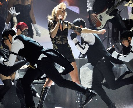 Taylor Swift on stage at the BRIT Awards 2013