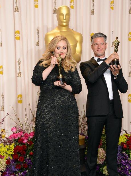 Paul Epworth and AdeleOscars 2013 awards backstage