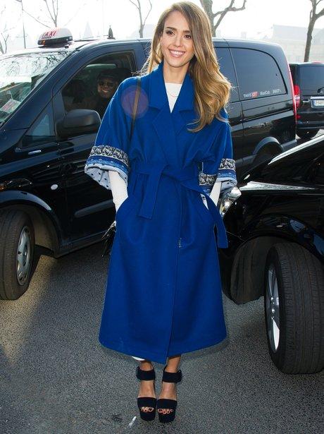 Jessica Alba in a blue kimono