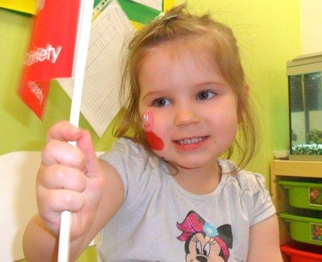 Peppa Pig visits Caring Kindergarten in Duston