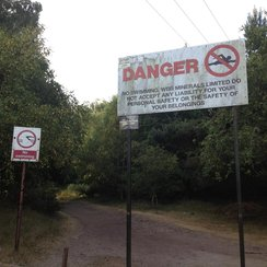 Danger sign at Bawsey Pitt in Kings Lynn