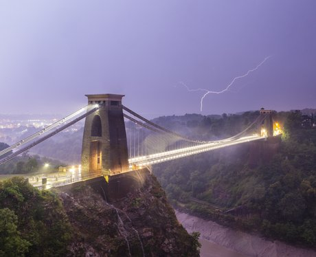 Lightning over Clifton Suspension Bridge, Bristol.