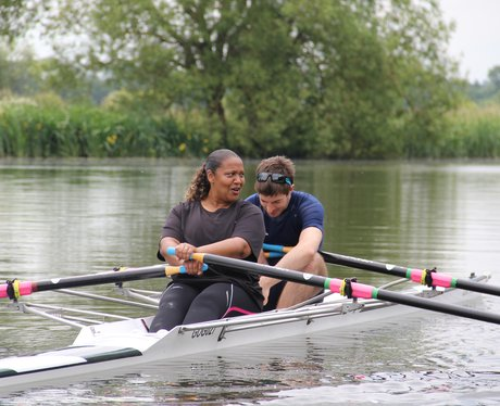 Michelle rowing with Zac