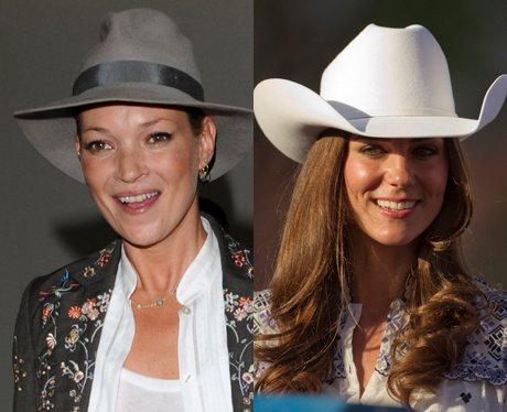 Kate Moss and Kate Middleton wearing hats