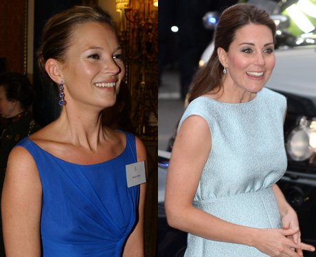 Kate Moss and Kate Middleton in blue dresses