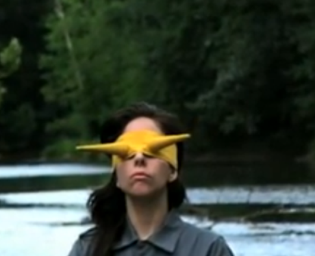 Lady Gaga blindfolded in The Abramovic Method