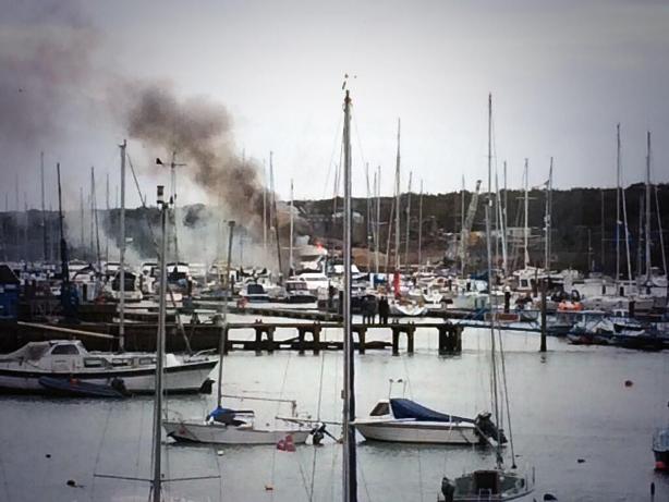 East Cowes Marina yacht fire