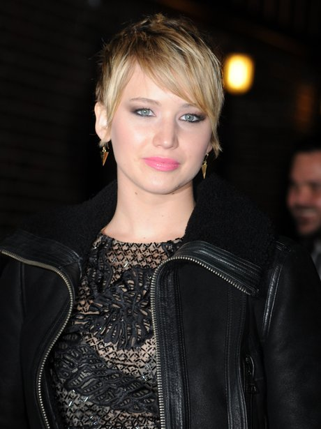 jennifer Lawrence wears a leather jacket to the David Letterman show