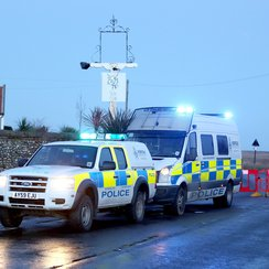 Road Block At Site Of Helicopter Crash