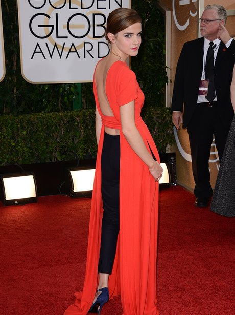 Emma Watson in a backless red dress