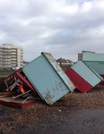 Damaged Beach huts on Hove seafront