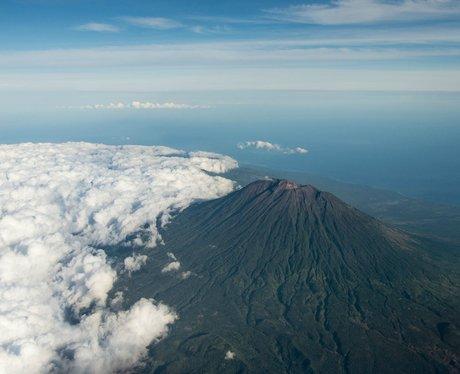 Gunung Agung volcano seen from the air, Bali