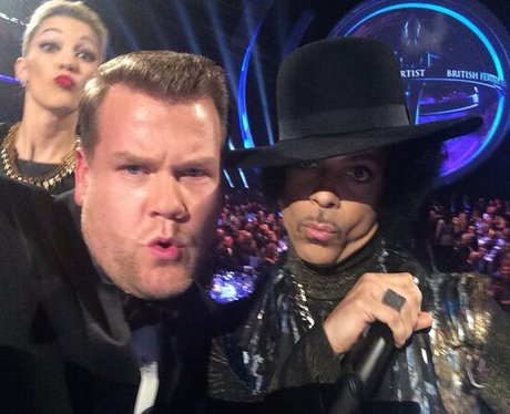 James Corden and Prince at the Brit Awards