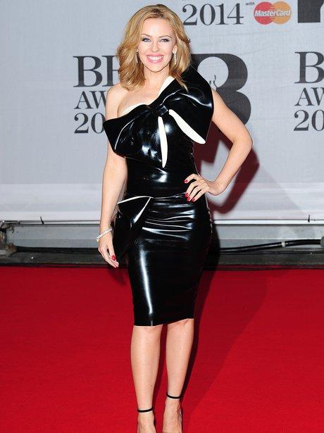 Kylie Minogue in pvc dress