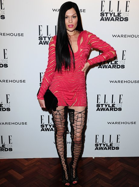 Jessie J in a pink dress and fishnet heels