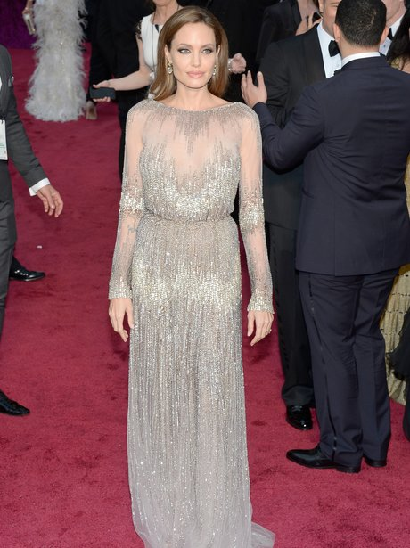Angelina Jolie at the Oscars 2014 red carpet