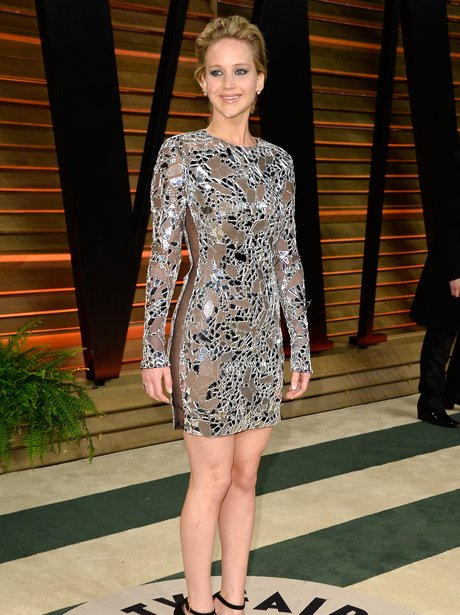 Jennifer Lawrence in a silver dress at the 2014 Vanity Fair party