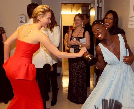 Jennifer Lawrence and Lupita Nyong'o Oscars