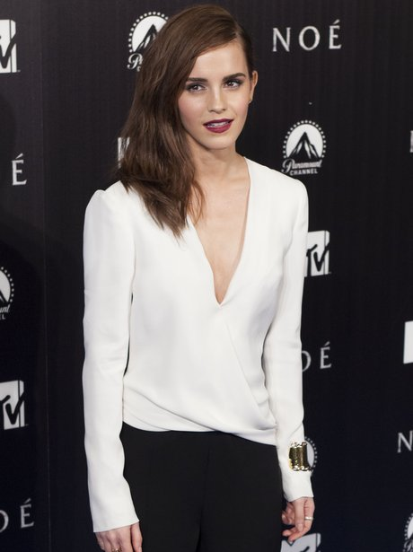 Emma Watson in a plunging white top