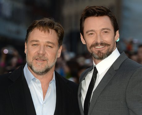 Russell Crowe and Hugh Jackman pose together