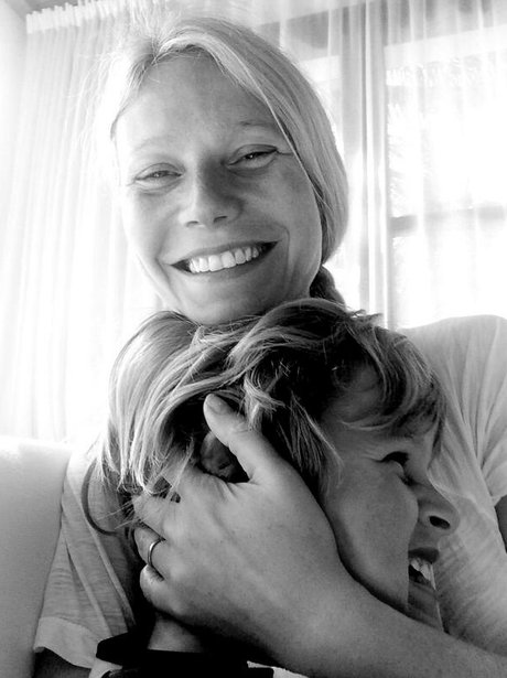 Gwyneth Paltrow smiles with son Moses