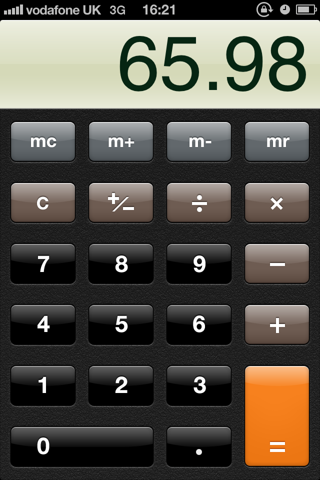 screenshot of iPhone calculator