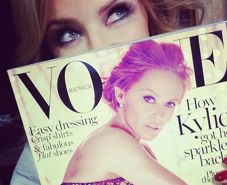 Kylie poses with Australian Vogue cover