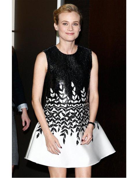 Diane Kruger in a monochrome dress