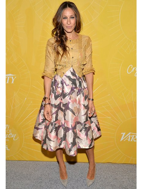 Sarah Jessica Parker in a flowery skirt