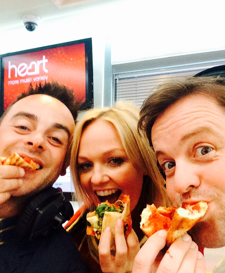 Ant & Dec and Emma eating sandwiches