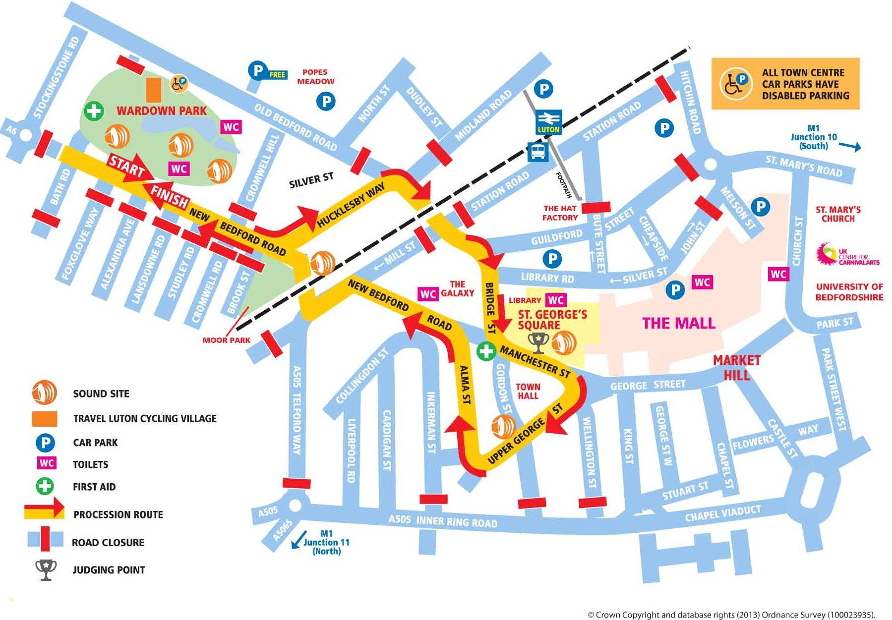 luton carnival map 2014