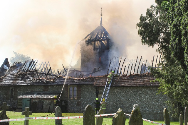 Fire at St Peters Church Ropley