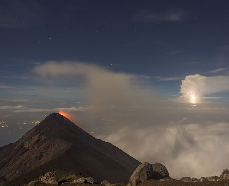 A volcano and lightening