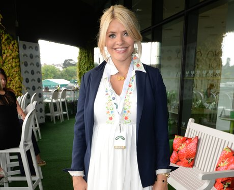 Holly Willoughby in a white dress