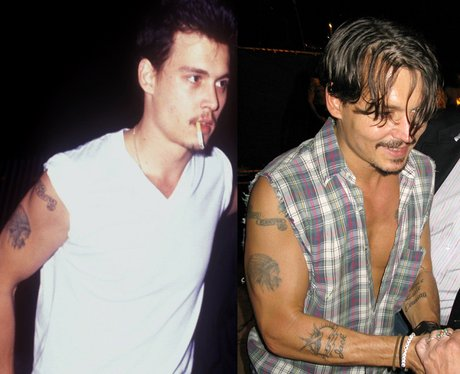 Johnny Depp pre and post his Winona Ryder tattoo