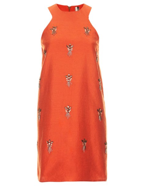 Topshop Embellished A-Line Dress