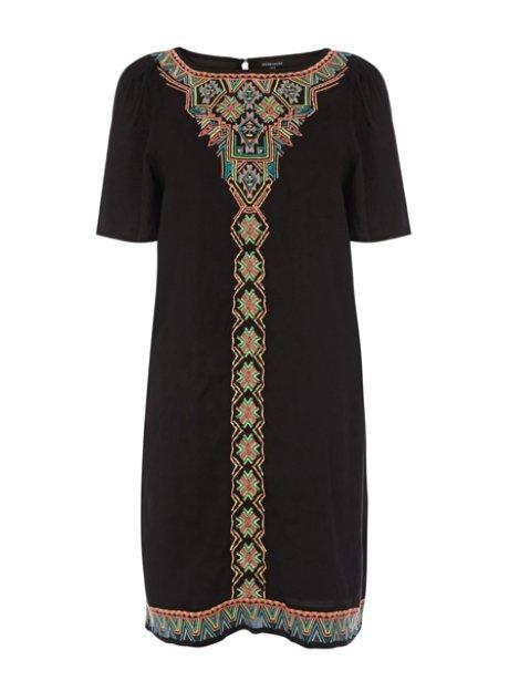 Warehouse Fluro Embroidered Tunic Dress